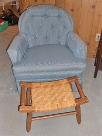 Comfy blue den chair and woven top foot rest/stool