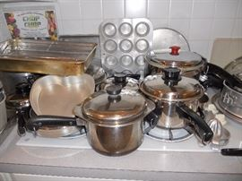 Lots of nice pots, pans and kitchen utensils