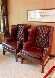 "BUY IT NOW!  Lot #300, Pair of Hancock & Moore Leather Tufted Wingback Chairs with Nailhead Trim & Ottomans,  $1,800 (Chairs approx. 32"" L x 20"" Deep x 40"" H at the back)"