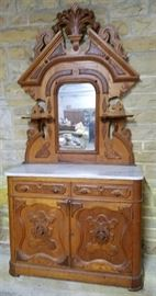 Chestnut Victorian marble top sideboard