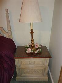 Empire Night stand & brass lamp