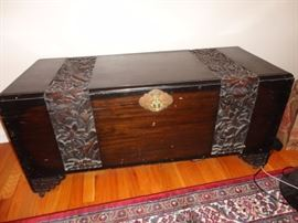 Hope chest wood with lotus leaves carved