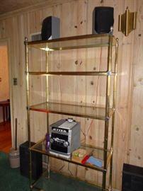 shelving brass & glass