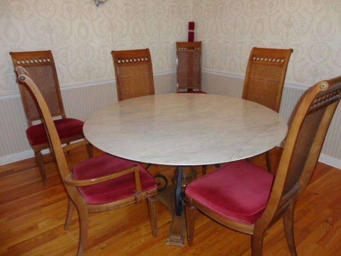 Marble Pedestal Table With Two Armed Chairs And 4 Side