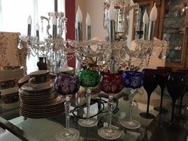 Beautiful crystal electric candelabras and stem ware