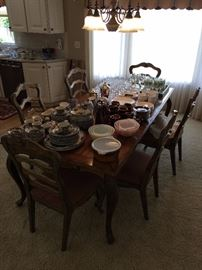 Dining table w/6 chairs; Pyrex; Johnson Bros. dinnerware; other nice dinnerware and glassware.