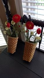 I took these off the wall.  Great wall baskets...you can change the flowers to match your decor.