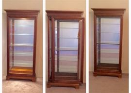 Sliding Door Display Cabinet with light. Middle pic shows door sliding.