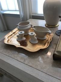 USA White Pottery ~ Gold Wooden Tray