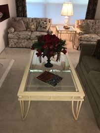 Matching Cream Colored Metal And Glass Coffee Table And End Table