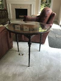 Baker - Round occasional table with iron legs & leather top