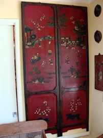"Late 19th - early 20th century ""Hundred Children Festival"", red lacquer, gemstones, 4-panels"