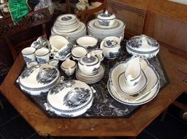 Wedgwood black transferware china set on octagonal Regency table