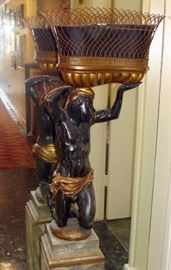 Early 19th century Italian carved and painted wood Blackamoor figure with antique English brass basket