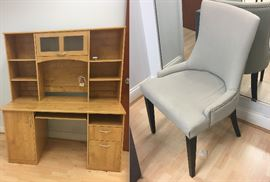 Light colored wood computer desk & light gray upholstered side chair
