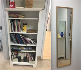 Tall white wooden and bookcase, Full length mirror