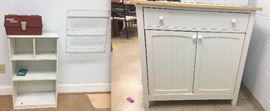 Small white shelves, tacklebox, wire organizational shelf, White cabinet with two door and one drawer