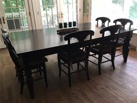 Black Pottery Barn table, chairs and bench