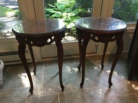 Pair of Carved Accent/End Tables
