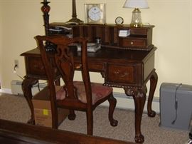 Desk and chair, lamps and clocks, and shredder