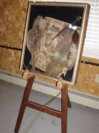 Easel w/ pheasant feather skins