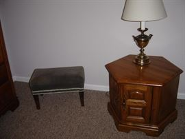 end table & lamp.   footstool is sold