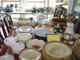 Assorted china, pottery,bowls, iron stone soup tureen, gravy boat, large stainless steel bowls, Colorado pottery vase,