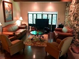 Leather furniture, very nice occasional tables, side chairs
