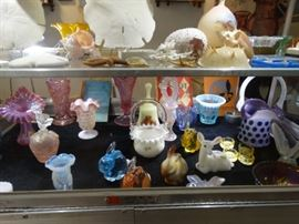 A Close up of some of the Fenton Art Glass (some signed) and some sea creatures
