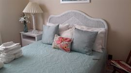 White wicker headboard full bed