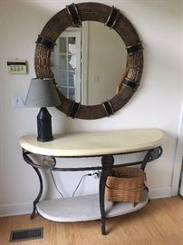 Entry hall piece with large mirror
