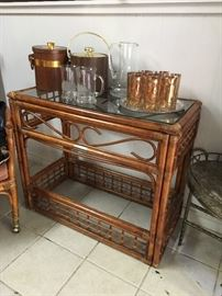 Vintage Rattan console with doubled as an excellent bar