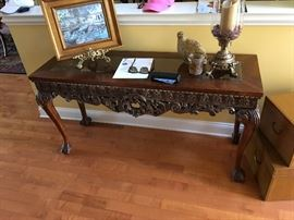 Carved wood Glass Console table