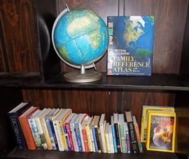 MIT009 Globe, Books, National Geographic Magazines & More
