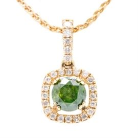14K Yellow Gold Diamond Pendant Necklace: A 14K yellow gold fancy link chain leading down to an openwork pendant featuring a slightly yellowish green diamond centerpiece within a halo of white diamonds. The bail is also encrusted with diamond accents.