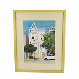 "Amanda Eller Kirby Watercolor ""A San Francisco House"": A signed original watercolor titled A San Francisco House by Amanda Eller Kirby. This Victorian pale yellow ""painted lady"" is set against a clear blue sky. A white Volkswagen beetle is parked at the curb as a single figure walks by. It is signed within image to the lower left and presented under a single mat in a wooden frame with a muted yellow finish. It is titled and signed to the frame backing and includes attached information about the artist and her work. It is protected by acrylic glass and is ready for wall presentation."