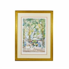 "Pierre Sean Llayó Offset Lithograph After Original Watercolor ""Symphonie Florale"": An offset lithograph titled Symphonie Florale after an original watercolor by Pierre Sean Llayó. This print after an original watercolor depicts an outdoor flower market under a canopy of mature trees. It is printed on textured paper, and plate signed within image and within margin. The title is printed within plate to the lower left margin. It is presented behind peach and cream mats in a wooden frame with an antique gold tone finish and protected under acrylic glass. Ready to hang by an attached wire."