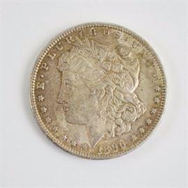 1896 Silver Morgan Dollar: An 1896 silver morgan dollar. Designer: George T. Morgan.