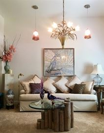 Marge Carson Sofa, Murano Chandelier, Mosaic Owl, Pendant Lights - All priced to sell!