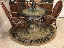 Carved Wood Elephant Tree Table, 6' Round Rug, Animal Print Upholstered Oak Desk Chair