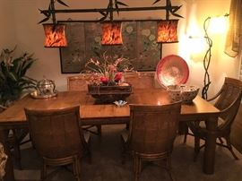 Dining table made in the Phillipines. Two Extension Leaves
