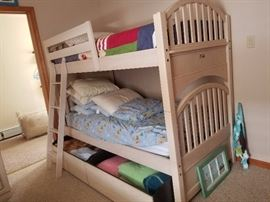 How about these bunk beds! Matching dresser and nightstand available too.