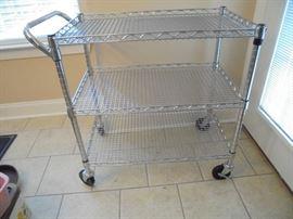 4 wheel metal serving cart