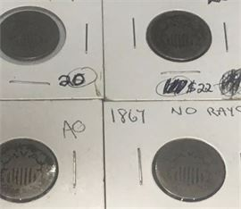 Lot of US Shield Nickels 1867 1868 Five 5 Cent Pieces