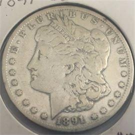 1891 CC Morgan Dollar Carson City Nevada Mint Silver Coin