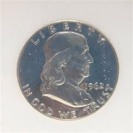 1962 Franklin Half Dollar Silver Proof SGS graded PR70
