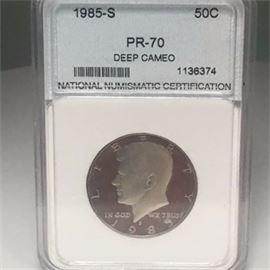 1985 S Kennedy Half Dollar Proof Graded PR-70 Deep Cameo