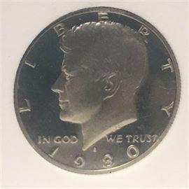 1980 S Kennedy Half Dollar Proof Graded PR-69 Deep Cameo