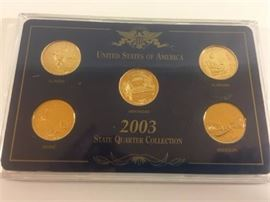 2003 US Mint State Quarter Collection Gold Uncirculated Illinois AL AK ME MO