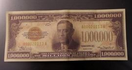 Genuine replica of a 1930's Million dollar bill used by banks in the 1930's to transfer funds between them. Very rare only one on ebay. This is NOT a fantasy bill.